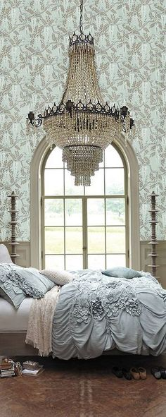 Bedroom Chandelier - this is equal parts beautiful and terrifying. (How do you sleep knowing a chandelier could fall on you?)
