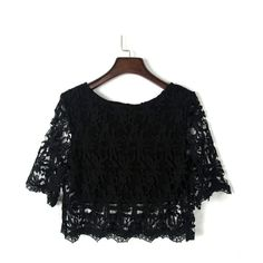 Black Half Sleeve Lace Crochet Cropped Top (270 GTQ) ❤ liked on Polyvore featuring tops, crop tops, blusas, shirts, crop shirt, shirt top, cropped tops, crochet crop top and elbow sleeve shirts