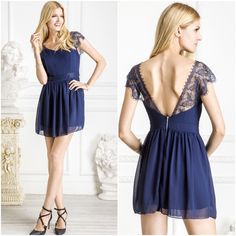"""Lace Flare Mini Dress New. Navy blue MINI flare dress with lace sleeves. Gorgeous & flirty!! Fully lined with back zipper.  13.5"""" waist, 17"""" bust, 30.5"""" long - By purchasing, buyer acknowledges to have taken measurements provided into consideration.  Please ask questions before purchasing. SALES ARE FINAL  BUNDLE DISCOUNTS SAME DAY SHIPPING ▫️OFFER BUTTON ONLY ▪️NO TRADES / HOLDS ▪️NO LOWBALLS No Brand Dresses"""