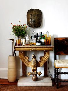 Home bar on gold table