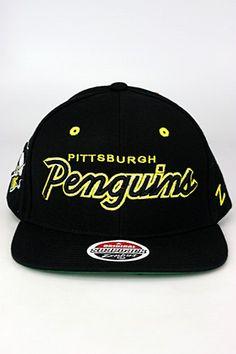 Zephyr Headliner Pittsburgh Penguins Snapback Hat Black - Yellow - White 817f0b57276e