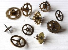 Steampunk supplies, vintage clock gears by allthatglittersbeads on Etsy