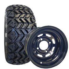 "Golf Cart Tire & Wheel Assembly - 10"" High Profile All-Terrain Tires/Wheels"