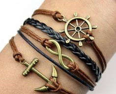 Free Shipping!Handmade Braided PU Leather Cord Bracelet Vintage Sideway Alloy Ship Anchor Infinity Symbol Digit 8 Charm Bracelet-in Vintage Bracelets & Bangles from Jewelry on Aliexpress.com