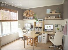family friendly office, his & hers. Love the relaxing colour scheme too!