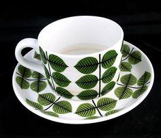 Mid Century Stig Lindberg Berså Coffee Tea Cup & Saucer