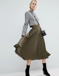 ASOS Button Through Pleated Midi Skirt