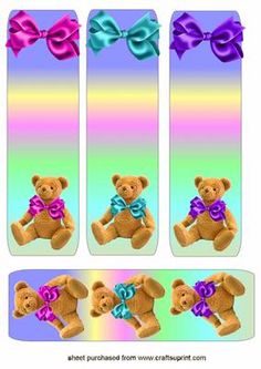 Bears bows bookmarks on Craftsuprint - Add To Basket!