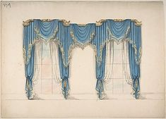 Design for Blue Curtains with Gold Fringes and Pediments Poster Print by Anonymous, British, century x