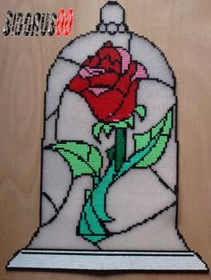 Rose - Beauty and the Beast hama perler beads by Sidorus00