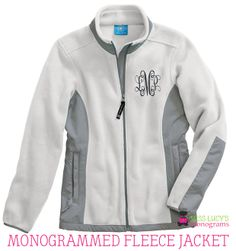 Awesome Monogrammed Fleece Jacket by Miss Lucy's Monograms!  Check it out!