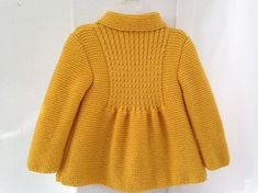 Little Princess Coat - For 2 to 3 Year Old Girls - Ready for Shipping - Worldwide Shipping - Hijab Clothing Cardigan Bebe, Knitted Baby Cardigan, Knitted Coat, Knitting For Kids, Baby Knitting Patterns, 3 Year Old Girl, Shrug Pattern, Yellow Coat, Baby Coat