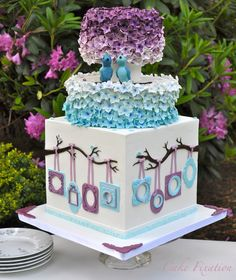 Cake Fixation: Purple and blue ombre flowers with cute little birds