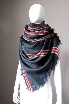 276a4658c033c7 Oversized winter scarf navy scarf shawl chunky by ScarfObsession, $49.00  Navy Scarves, Chunky Scarves