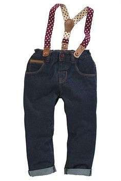 Boys Clothing Online - 3 months to 6 years - Next Dark Wash Jeans With Spot Braces