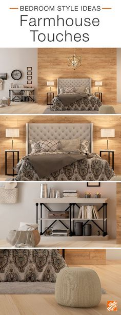 Make your bedroom feel warm and inviting with farmhouse touches. While the boldly patterned bedscape serves as the room's focal point, metallic accessories and a comfy cotton pouf draw contrast to the rustic wooden accent wall and flooring. Decor, Home Bedroom, Bedroom Makeover, Bedroom Design, Master Bedrooms Decor, Bedroom Decor, Home Decor, House Interior, Remodel Bedroom