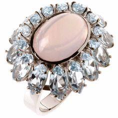 Bossa Nova ring with pink quartz and blue topaz by Carla Amorim