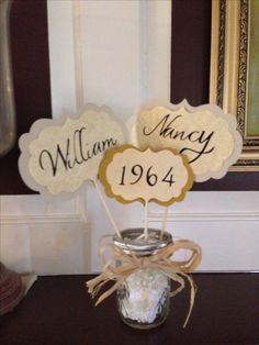 Table center pieces for parent's 50th Anniversary