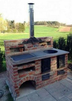 59 ideas backyard bbq grill design awesome for 2019 Small Rustic Kitchens, Rustic Kitchen Design, Outdoor Kitchen Design, Kitchen Designs, Kitchen Ideas, Backyard Kitchen, Backyard Bbq, Brick Bbq, Brick Oven Outdoor
