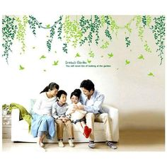 Green Leaves Creative Personality Living room Wall Stickers Bedroom Home Decor