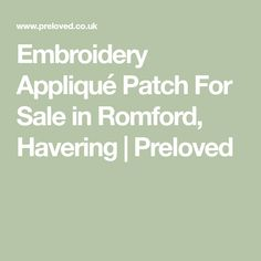 Embroidery Appliqué Patch For Sale in Romford, Havering Diy Embroidery Lace, Embroidery Applique, Patches For Sale, Two Hands, Lace Fabric, The Incredibles, Clothes For Women, Outerwear Women