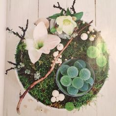 Flowers twigs moss candy Christmas table decoration