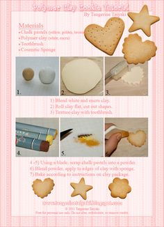 (。・ω・)ノ゙ コンチャ ☆彡 I have a new tutorial for sugar cookies, perfect for decoden and sweet lolita jewelry projects! This tutorial cover. Polymer Clay Miniatures, Fimo Clay, Polymer Clay Projects, Polymer Clay Charms, Polymer Clay Creations, Clay Crafts, Clay Beads, Cookie Tutorials, Clay Tutorials