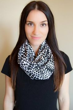 Black and White Dots Infinity Nursing Scarf $20