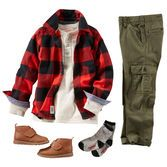Cargos and a henley keep him casually cool from the bus stop to band practice. Prep this look for fall with a bold buffalo check layer and faux leather boots.*10.16.15