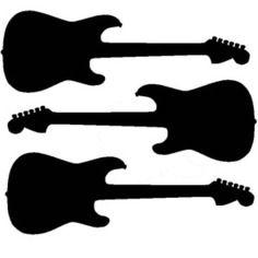 3 petites guitares en flex thermocollant (couleurs au choix)