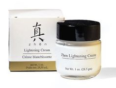Zhen Lightening Cream by Zhen. $27.00. A non greasy creme that can be used daily to help gently diminish and lighten dark pigmentation and age spots. Remember to use with moisturizer and sunscreen. See your spots and freckles fade with daily use in 6-8 weeks. Mineral oil free. No animal testing, Made in USA