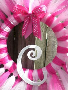 Hot Pink and Light Pink Tulle Tutu Ballerina Princess Wreath for Themed Birthday Party, Baby Shower, or Recital. $38.00, via Etsy.