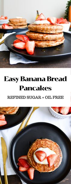 These Easy Banana Bread Pancakes are the perfect addition to your weekend table. They are easy, flavorful, nourishing and ready for all of your favorite pancake toppings. Vegan Pancake Recipes, Banana Recipes, Waffle Recipes, Brunch Recipes, Whole Food Recipes, Vegan Recipes, Vegan Comfort Food, Comfort Foods, So Delicious Coconut Milk