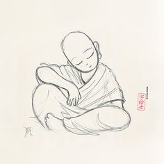 Monk sketch by: 7e55e  #buddhism