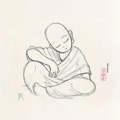 Little monk art ☸️ Drawings Zen Painting, Japanese Painting, Japanese Art, Buddha Buddhism, Buddha Art, Drawing Sketches, Art Drawings, Tattoo Buddhist, Buddha Tattoo Design