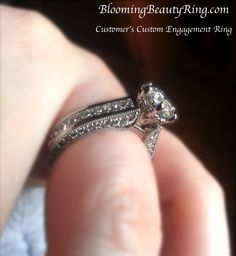 A customer sharing a photo of their Custom Engagement Ring that we made for them!  #EngagementRing