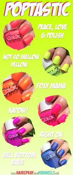 Color Club Poptastic Collection! The best neon nail polishes! #neon #nailpolish