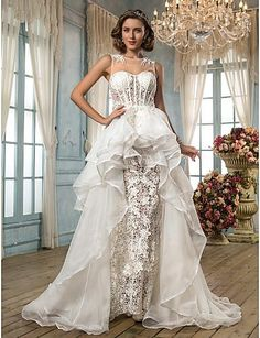 #4113: A-line/Princess Jewel Asymmetrical Lace And Organza Wedding Dress by Light In The Box