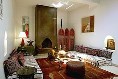The main elements of Moroccan style design are rugs, tiles, dishes, pottery, textiles, lanterns, metal works, etc. The fabrics used for Moroccan style designing are rich in colors. There is abundance of pillows, cushions in Moroccan style bedrooms.
