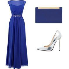 Vestido largo azul para fiesta