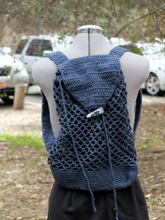 Nice crochet backpack 100 cotton by indulging on Etsy, $60.00
