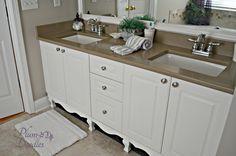 Update Bathroom Vanity with Furniture Feet and Skirt- PlumDoodles.com