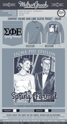 A great collection of Formal T-shirts for your Greek organization. Browse the collection for the perfect T-shirt for your Fraternity or Sorority. Sorority And Fraternity, Sorority Shirts, Sigma Phi Epsilon, Sorority Formal, Greek Shirts, Greek Apparel, Spring Shirts, Greek Clothing, Formal Shirts