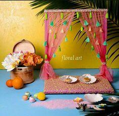 Ganpati Decoration Design, Thali Decoration Ideas, Diy Diwali Decorations, Backdrop Decorations, Festival Decorations, Diy Crafts Hacks, Diy Crafts For Gifts, Diy Home Crafts, Ganesh Chaturthi Decoration