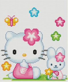 Flower Hello Kitty Cross Stitch Pattern by KeenahsCrossStitch