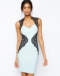 Image 1 of Lipsy Lace Applique Bodycon Dress with Open Back