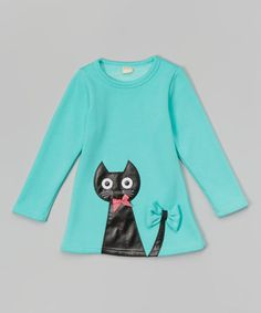 Love this Turquoise Cat Tunic - Infant, Toddler & Girls on #zulily! #zulilyfinds