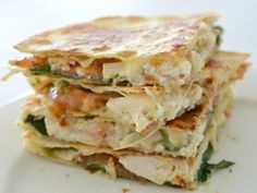 If you are looking for a quick and delicious lunch (or dinner!) this Chicken Cheese and Pesto Quesadilla recipe is for you!