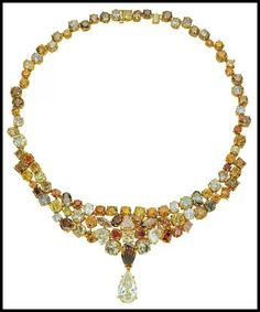 A multi-colored fancy diamond necklace with 117.42 carats of diamonds suspending an 8.5-carat pendant.