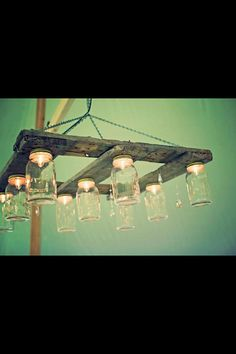 Canning jar palette hanging light fixture  by msutton24 on Etsy, $300.00